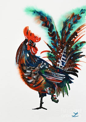 Painting - Walking Rooster by Zaira Dzhaubaeva