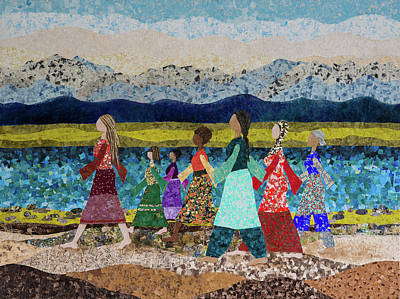 Women Together Mixed Media - Walking Strong #1 by Linda Klippenstein