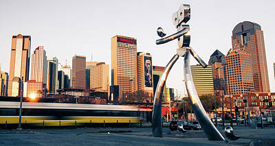 Photograph - Walking Tall Traveling Man - Dallas Texas Skyline by Gregory Ballos