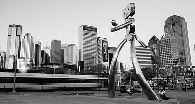 Photograph - Walking Tall Traveling Man - Dallas Texas Skyline In Black And White by Gregory Ballos