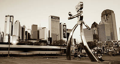 Photograph - Walking Tall Traveling Man - Dallas Texas Skyline In Sepia by Gregory Ballos