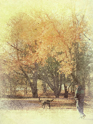 Photograph - Walking The Dog Autumn Scene by Ann Powell