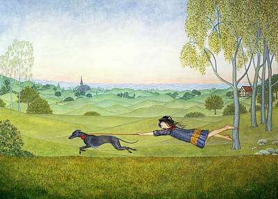 Grey Dress Painting - Walking The Dog  by Ditz