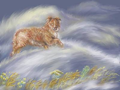 Painting - Walking The Dog In A Ground Blizzard II by Dawn Senior-Trask