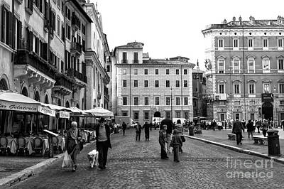 Dogs In Art Photograph - Walking The Dog In Rome by John Rizzuto