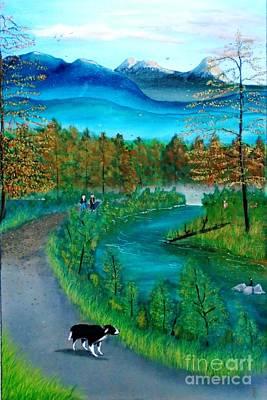 Painting - Walking The Dog by John Lyes