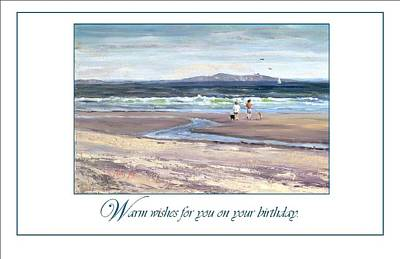 People On Beach Wall Art - Painting - Walking The Dogs Nantasket by Laura Lee Zanghetti