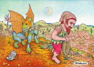 Gargoyle Drawing - Walking The Gargoyle Variation by Bill Perkins