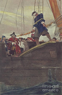 Pirate Ship Painting - Walking The Plank by Howard Pyle