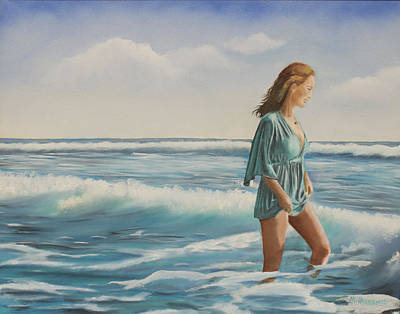 Embodiment Painting - Walking The Surf by Marcel Quesnel