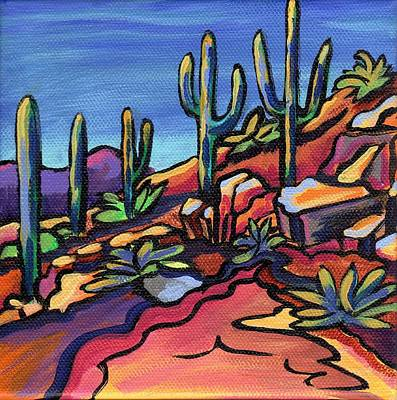 Saguaro Painting - Walking The Wash-honeybee Canyon by Alexandria Winslow