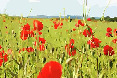 Digital Art - Walking Through Poppies by Mary Castellan
