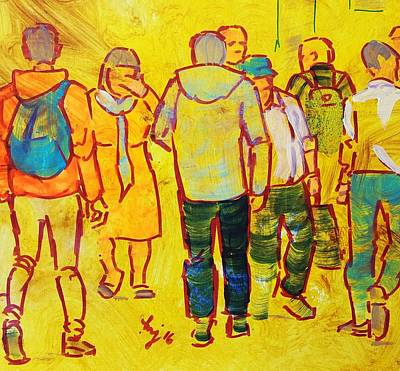 Painting - Walking Through The Crowd - People Shopping In Town by Mike Jory