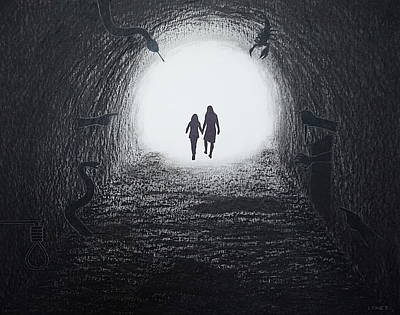Painting - Walking Through The Darkness Towards The Light by Lynet McDonald