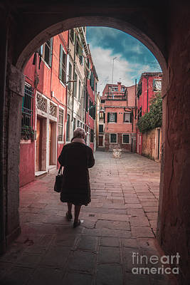 Photograph - Walking Through Time - Venice, Italy by Jeffrey Worthington