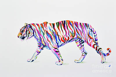 Painting - Walking Tiger by Zaira Dzhaubaeva