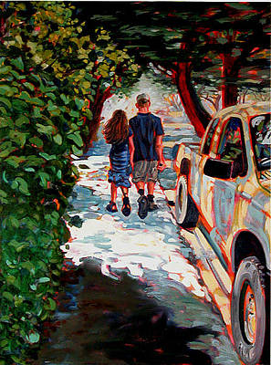 Carmel By The Sea Painting - Walking To The Beach by Karen Fulk