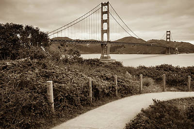 Photograph - Walking To The Golden Gate Bridge - California - Sepia Edition by Gregory Ballos