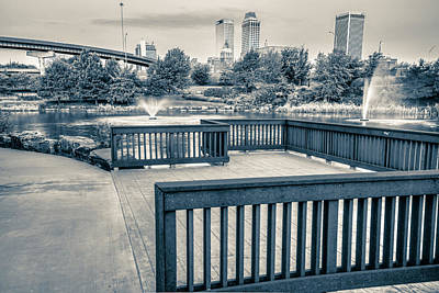 Walking To The Tulsa Downton Skyline In Black And White Print by Gregory Ballos
