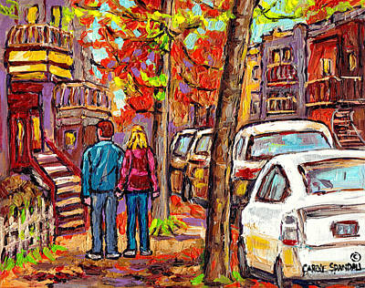 Montreal Memories Painting - Walking Towards Downtown Montreal Autumn Staircase Painting Canadian City Scene Carole Spandau       by Carole Spandau