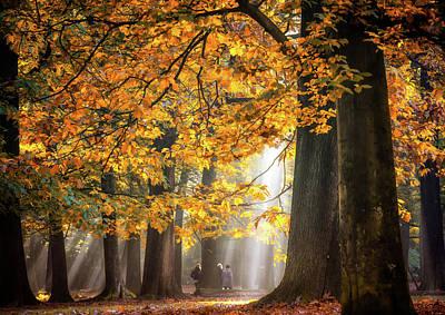 Walking Under The Autumn Lights Print by Fabrizio Micciche