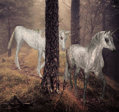 Digital Art - Walking Unicorns by Solomon Barroa