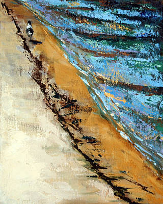 Painting - Walking With A Sandpiper by Suzanne McKee