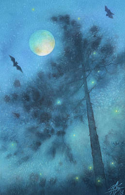 Painting - Walking With Bats And Fireflies by Robin Street-Morris