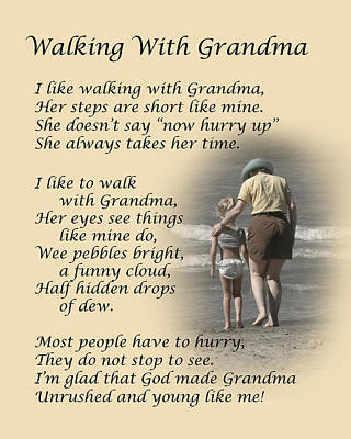 Walking With Grandma Art Print