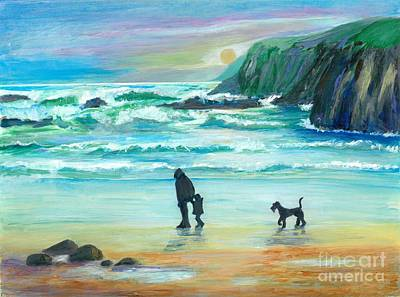 Walking With Grandpa - Painting Art Print by Veronica Rickard
