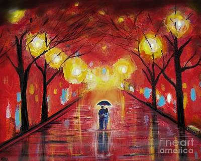 Painting - Walking With My Love by Leslie Allen