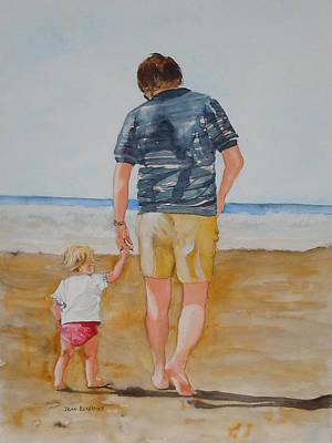Walking With Pops Art Print by Jean Blackmer