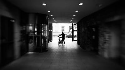 35 Mm Photograph - Walking With The Bike - Dublin, Ireland - Black And White Street Photography by Giuseppe Milo