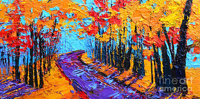 Painting - Walking Within - Enchanted Forest Collection - Modern Impressionist Landscape Art - Palette Knife by Patricia Awapara
