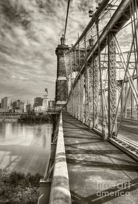 Photograph - Walking On John Roebling's Bridge Sepia Tone by Mel Steinhauer