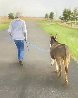 Photograph - Walkning My Donkey by Jennifer Grossnickle