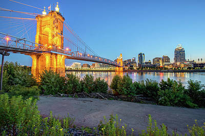 Photograph - Walkway Along The Cincinnati Ohio Skyline At Dawn by Gregory Ballos
