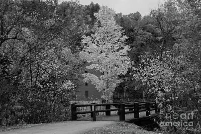 Photograph - Walkway Bridge To Alley Mill Grayscale by Jennifer White