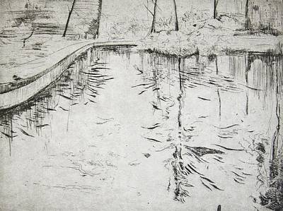 Reflecting Water Drawing - Walkway   Kew Gardens by Calum McClure