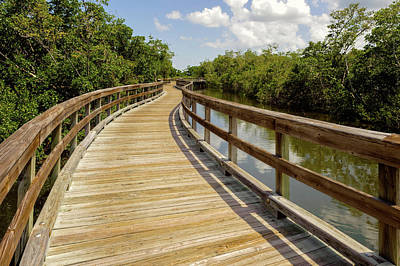 Art Print featuring the photograph Walkway Over The Florida Salt Water Marsh  -  Preservewalkway135453 by Frank J Benz