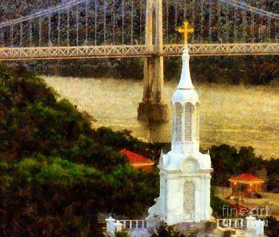Photograph - Walkway Over The Hudson - Our Lady Of Mount Carmel Church Steeple by Janine Riley