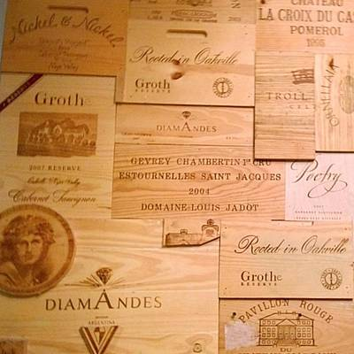 Restaurant Photograph - Wall Decorated With Used Wine Crates by Shari Warren