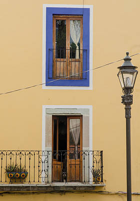 Guanajuato Photograph - Wall, Doors And Lamp In Guanajuato. by Rob Huntley