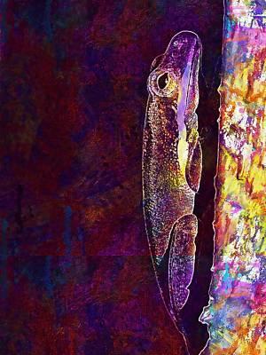 374 Digital Art - Wall Green Amphibian Frog  by PixBreak Art