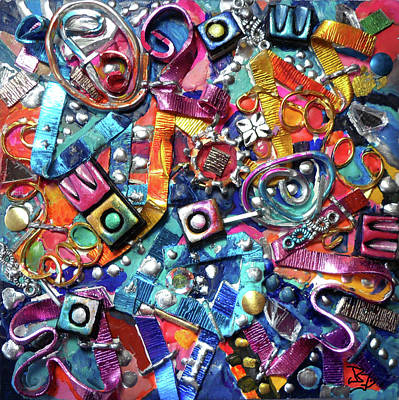 Painting - Wall Jewelry 4 by Jean Batzell Fitzgerald