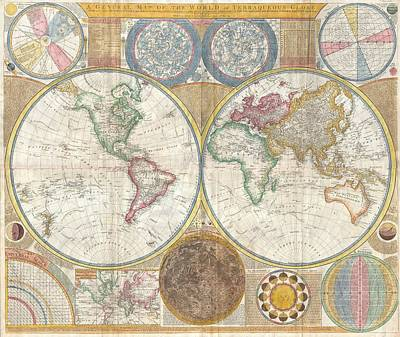 1794 Painting - Wall Map Of The World In Hemispheres by Celestial Images