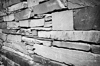 Ambleside Wall Art - Photograph - wall of building built of slate lakeland stone construction Ambleside lake district cumbria england  by Joe Fox