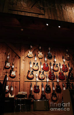 Photograph - Wall Of Guitars 2 - Guitar Center Hollywood by Gem S Visionary