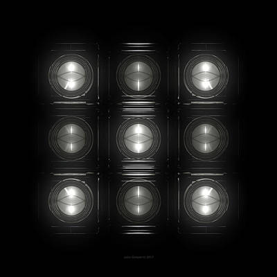 Electro Digital Art - Wall Of Roundels 3x3 by Jules Gompertz