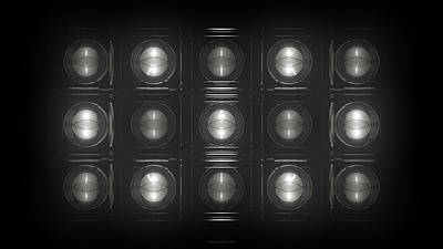 Electro Digital Art - Wall Of Roundels - 5x3 by Jules Gompertz